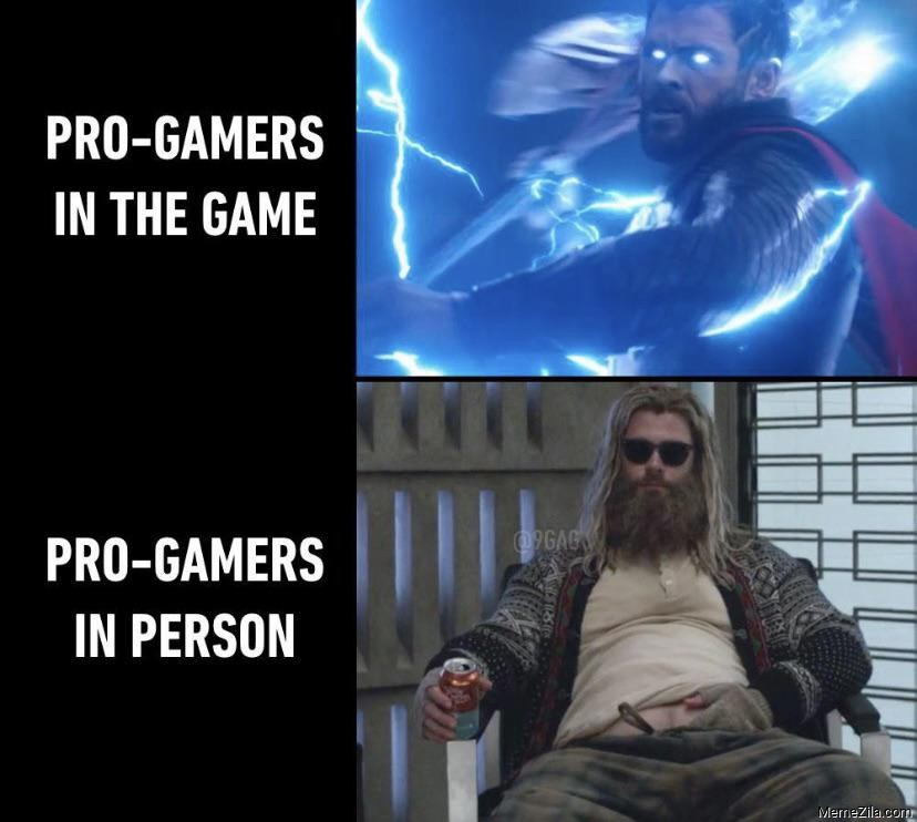 Pro-gamers in the game vs Pro-gamers in person meme