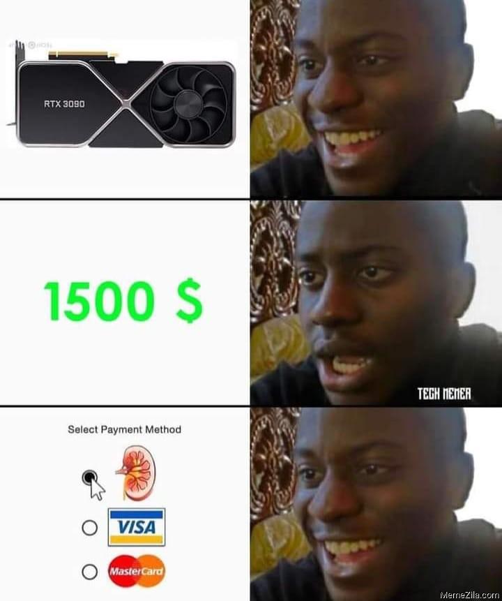 RTX 3090 $1500 Select payment option kidney meme