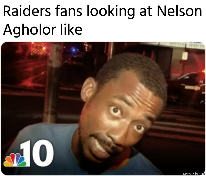 Raiders fans looking at Nelson Agholor like meme