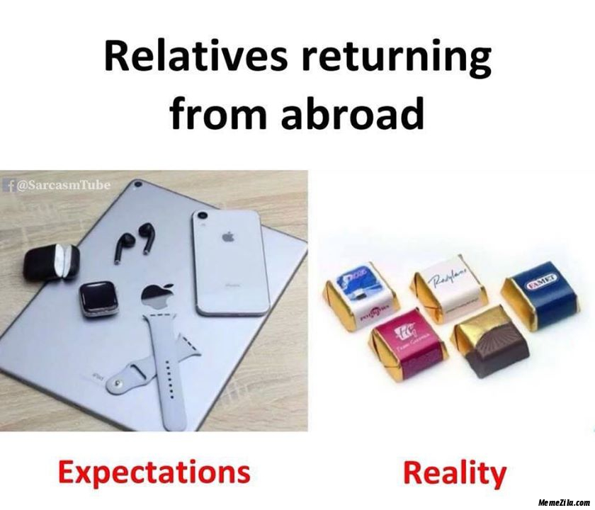 Relatives returning from abroad Expectations vs reality meme