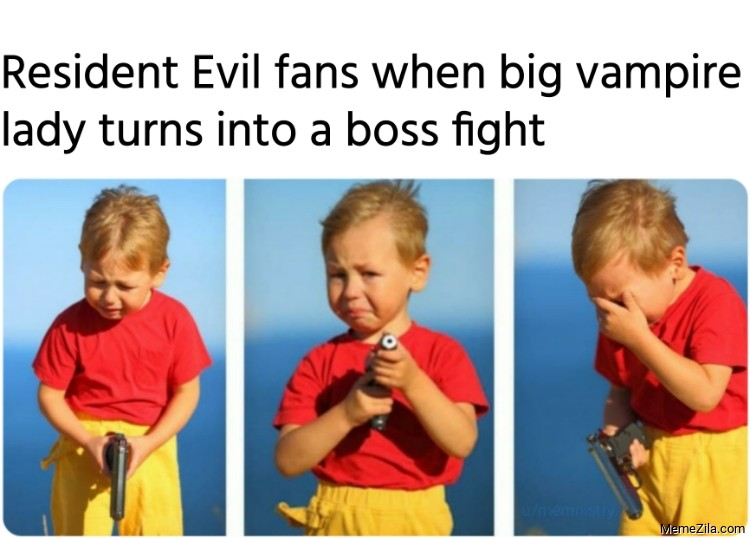 Resident Evil fans when big vampire lady turns into a boss fight meme