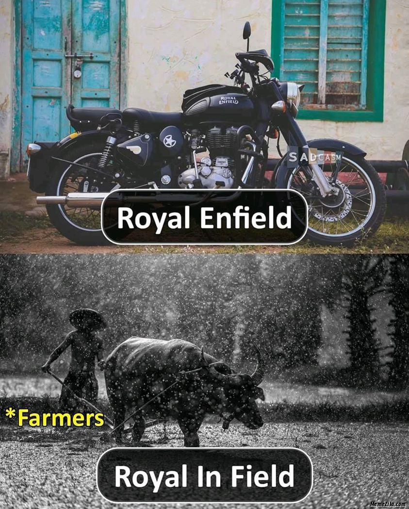 Royal Enfield vs Royal in field Farmers meme