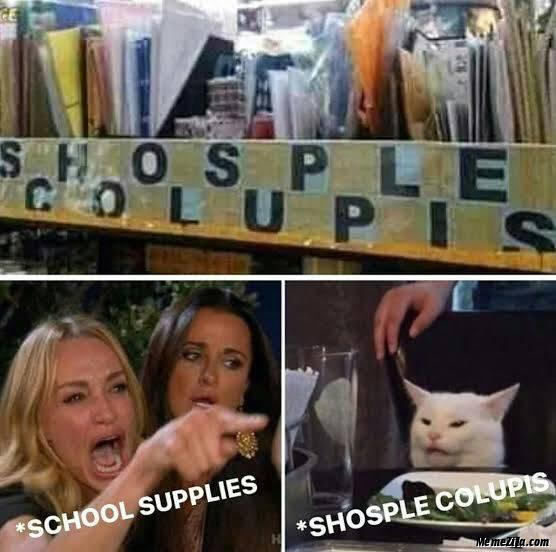School Supplies Shosple Colupis cat meme