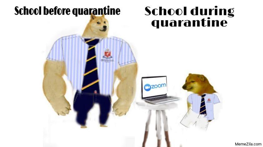 School before quarantine vs School during quarantine meme