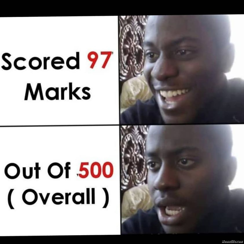 Scored 97 marks out of 500 overall meme