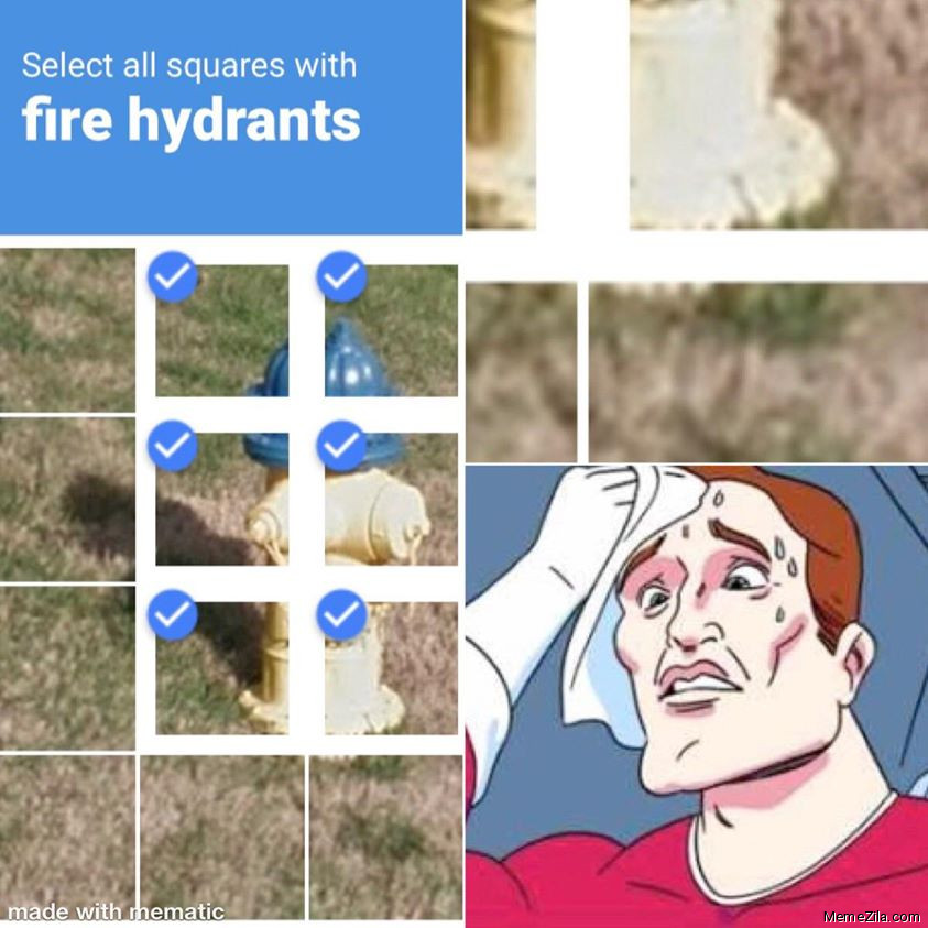 Select all squares with fire hydrants meme