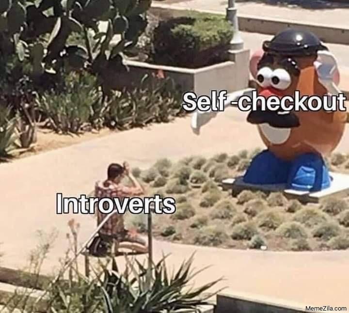 Self checkout vs introverts meme