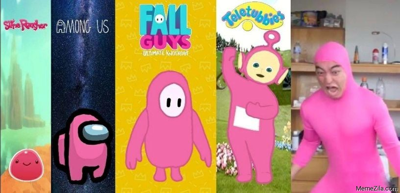 Slime rancher Among us Fall guys Teletubbies Pink guy evolution meme