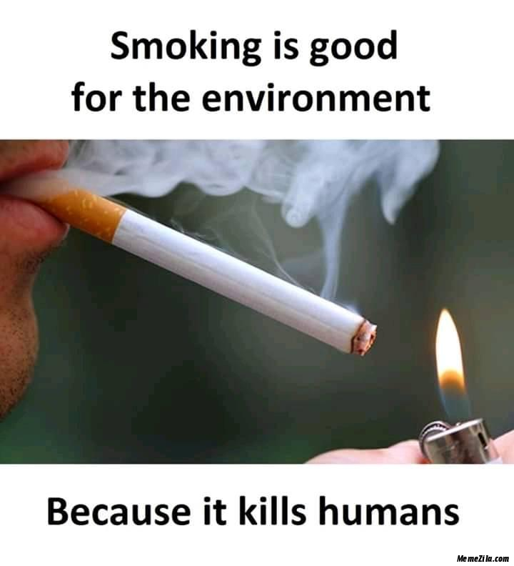 Smoking is good for the environment Because it kills humans meme