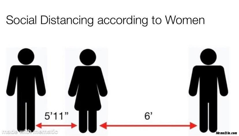 Social distancing according to women meme