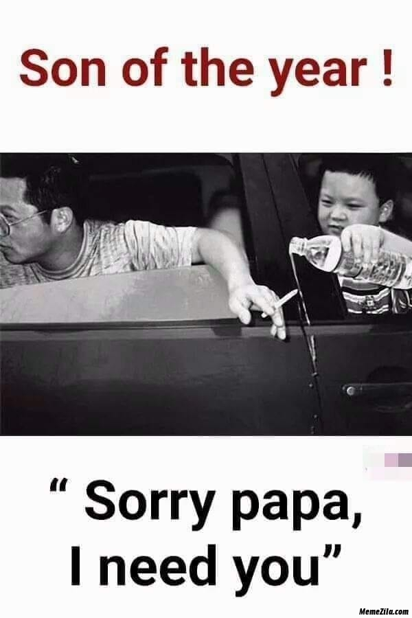 Son of the year sorry papa I need you meme
