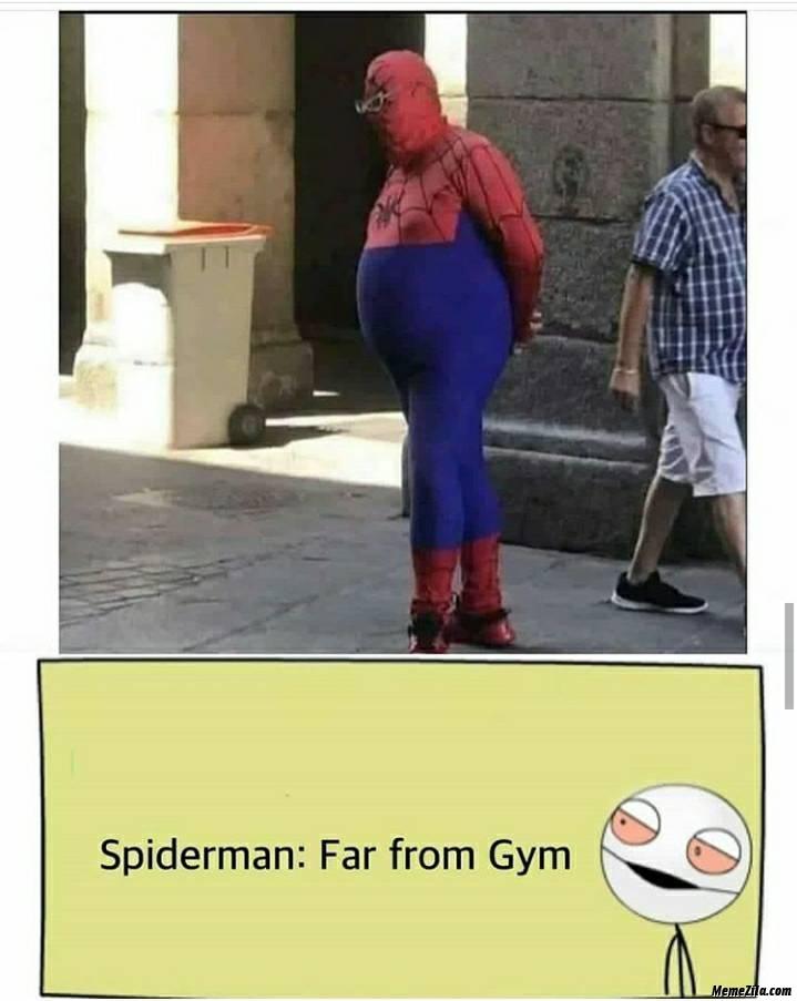 Spider man far from gym meme