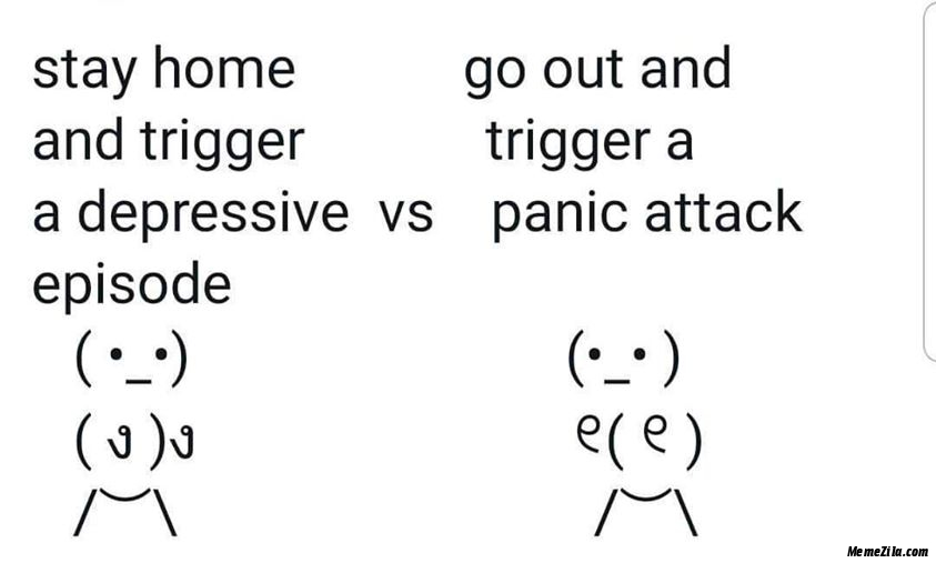 Stay home and trigger a depressive episode vs Go out and trigger a panic attack meme