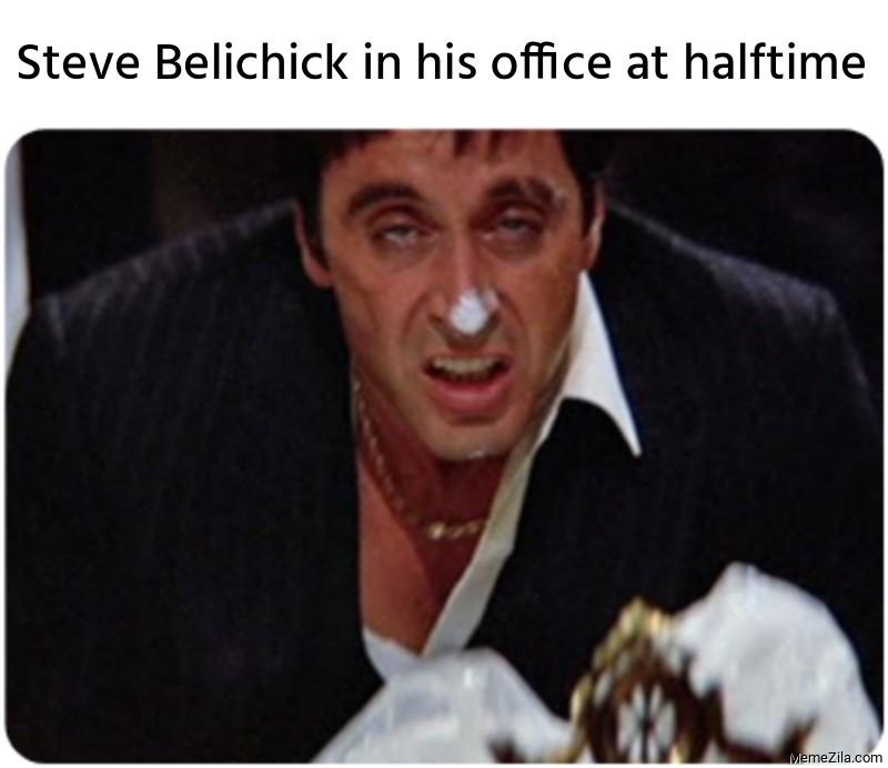 Steve Belichick in his office at halftime meme