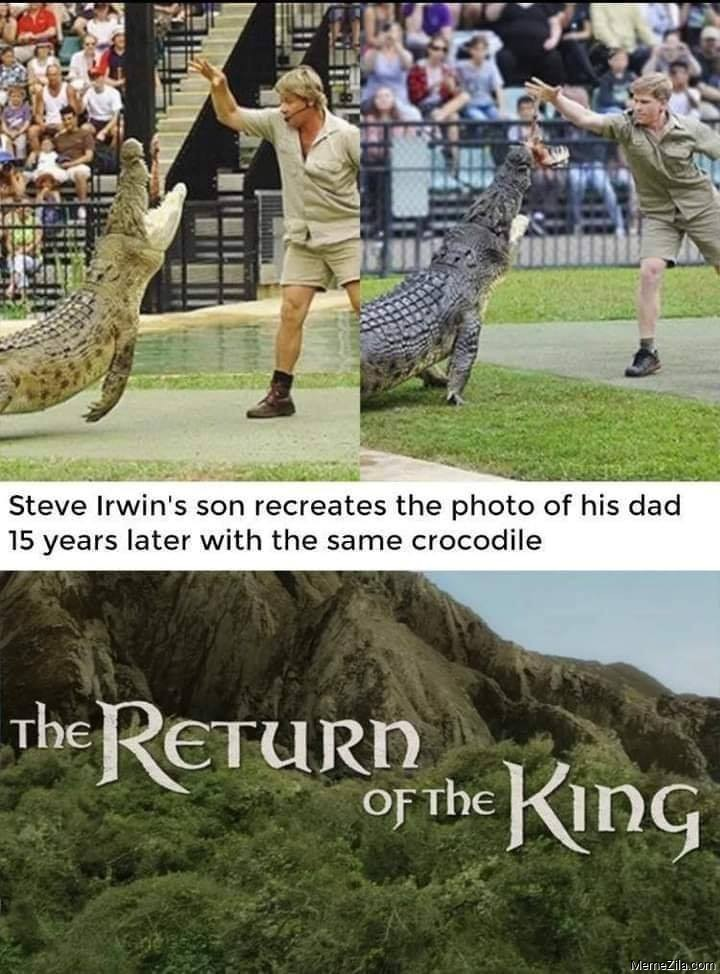 Steve Irwins recreates the photo of his dad 15 years later with the same crocodile meme