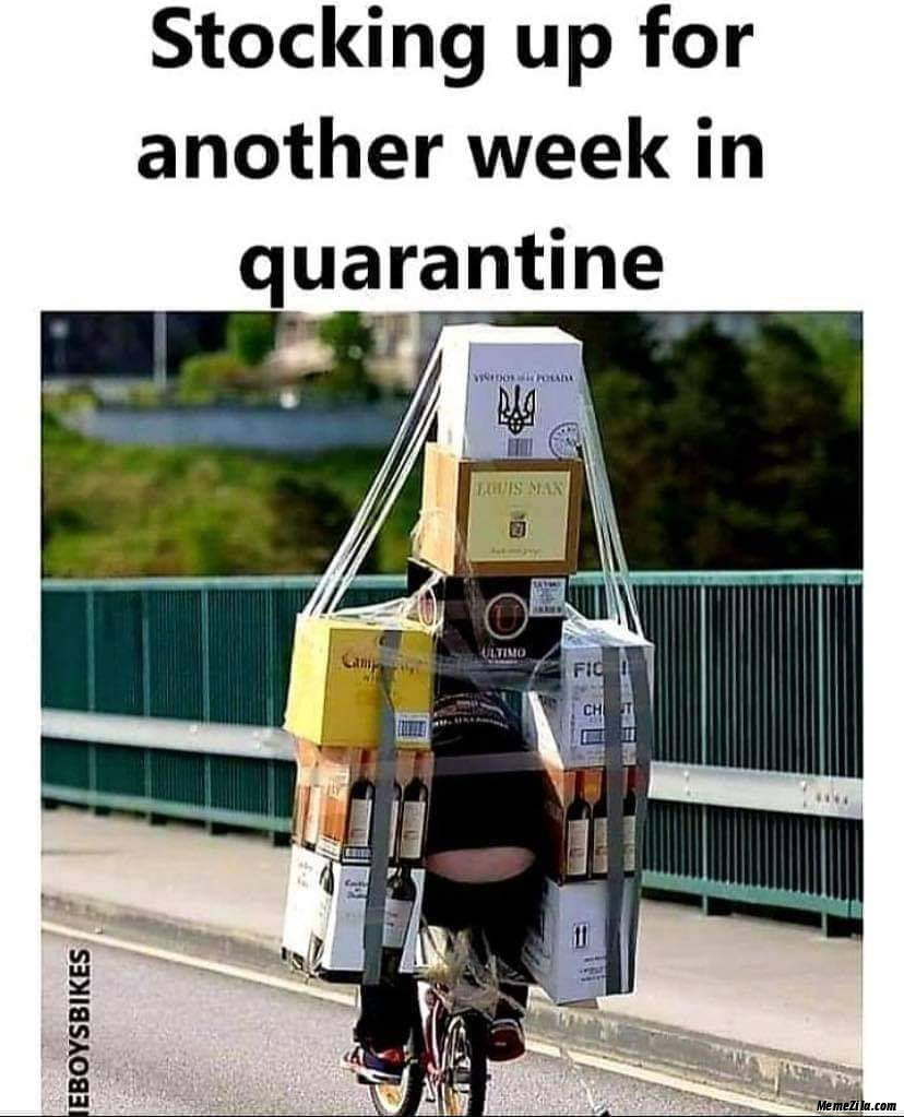 Stocking up for another week in quarantine meme