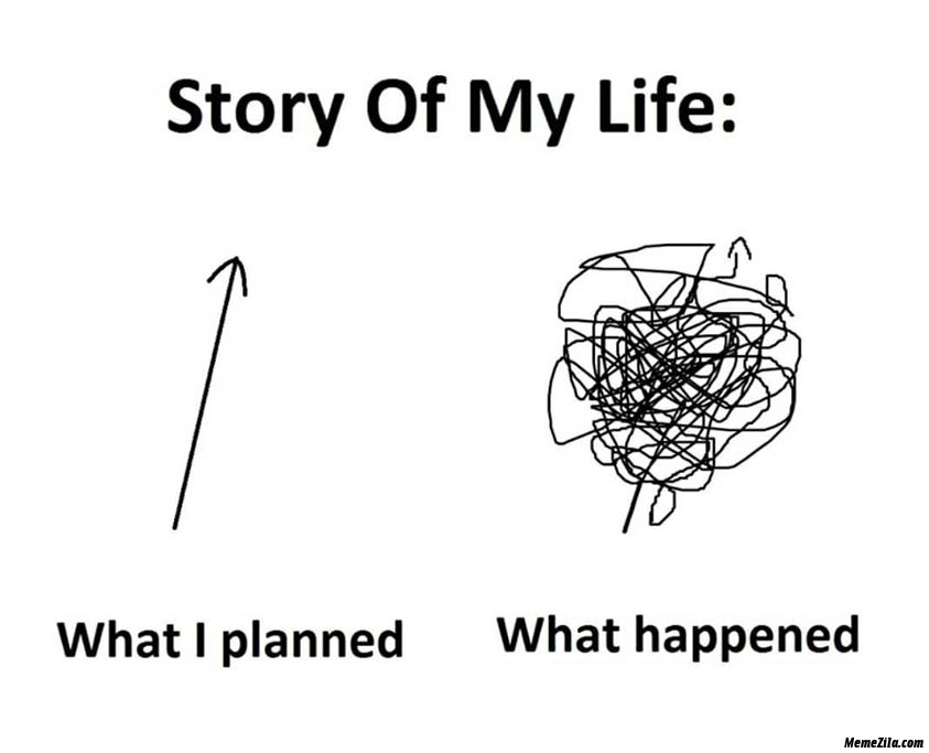 Story of my life What I planned vs What happened meme