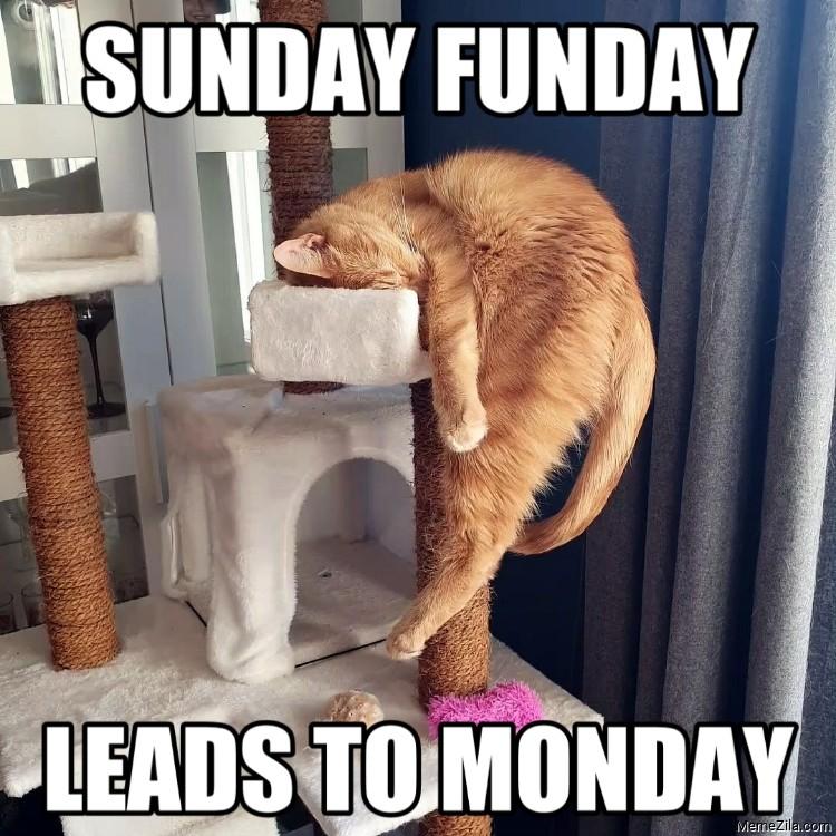 Sunday funday leads to monday meme