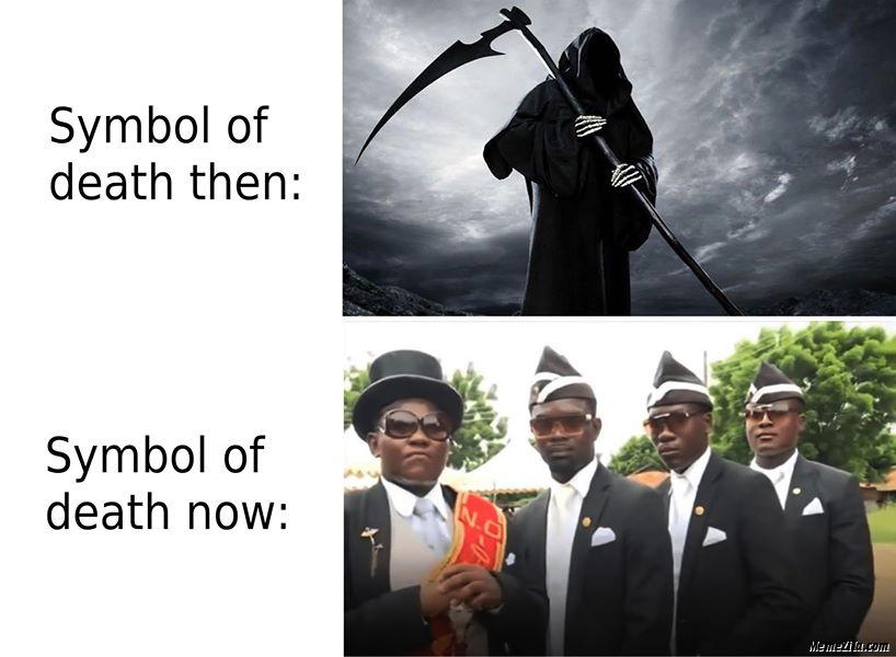 Symbol of death then vs Symbol of death now meme