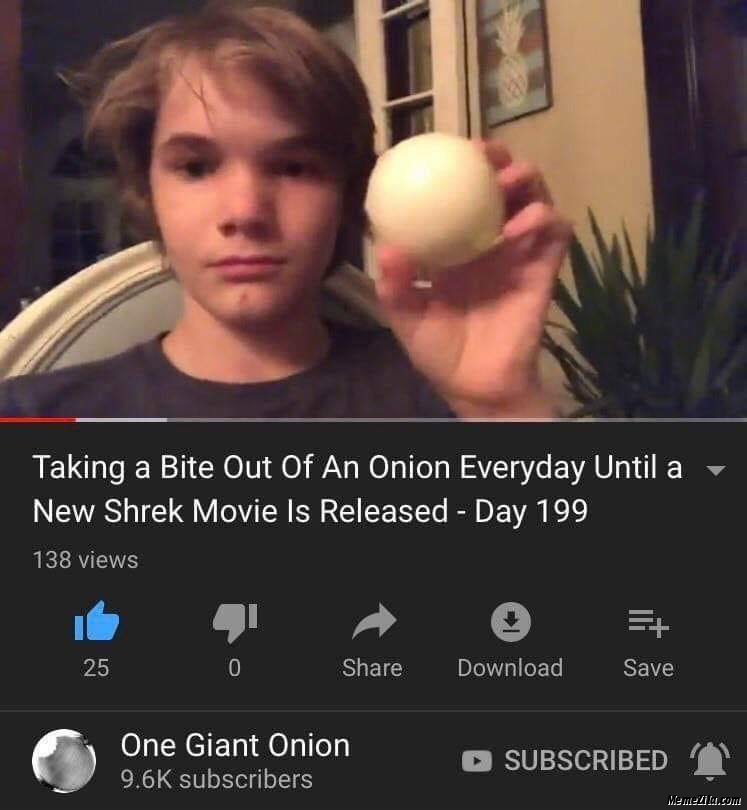 Taking a bite of an onion everyday until a new shrek movie is released Day 199 meme