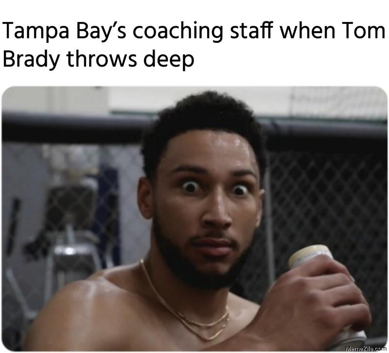 Tampa Bays coaching staff when Tom Brady throws deep meme