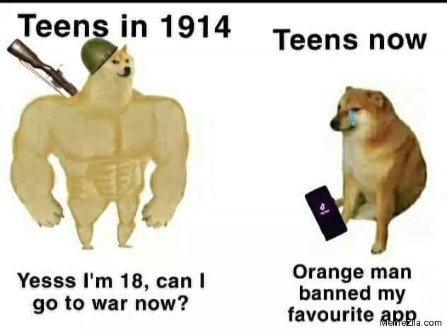 Teens in 1914 vs Teens now meme