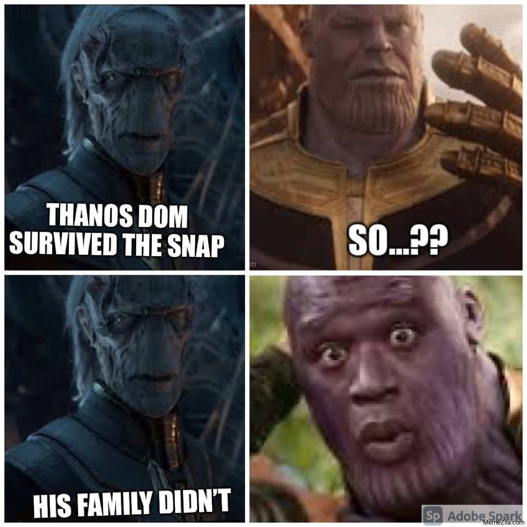 Thanos Dom survived the snap. So?? His family didn't meme