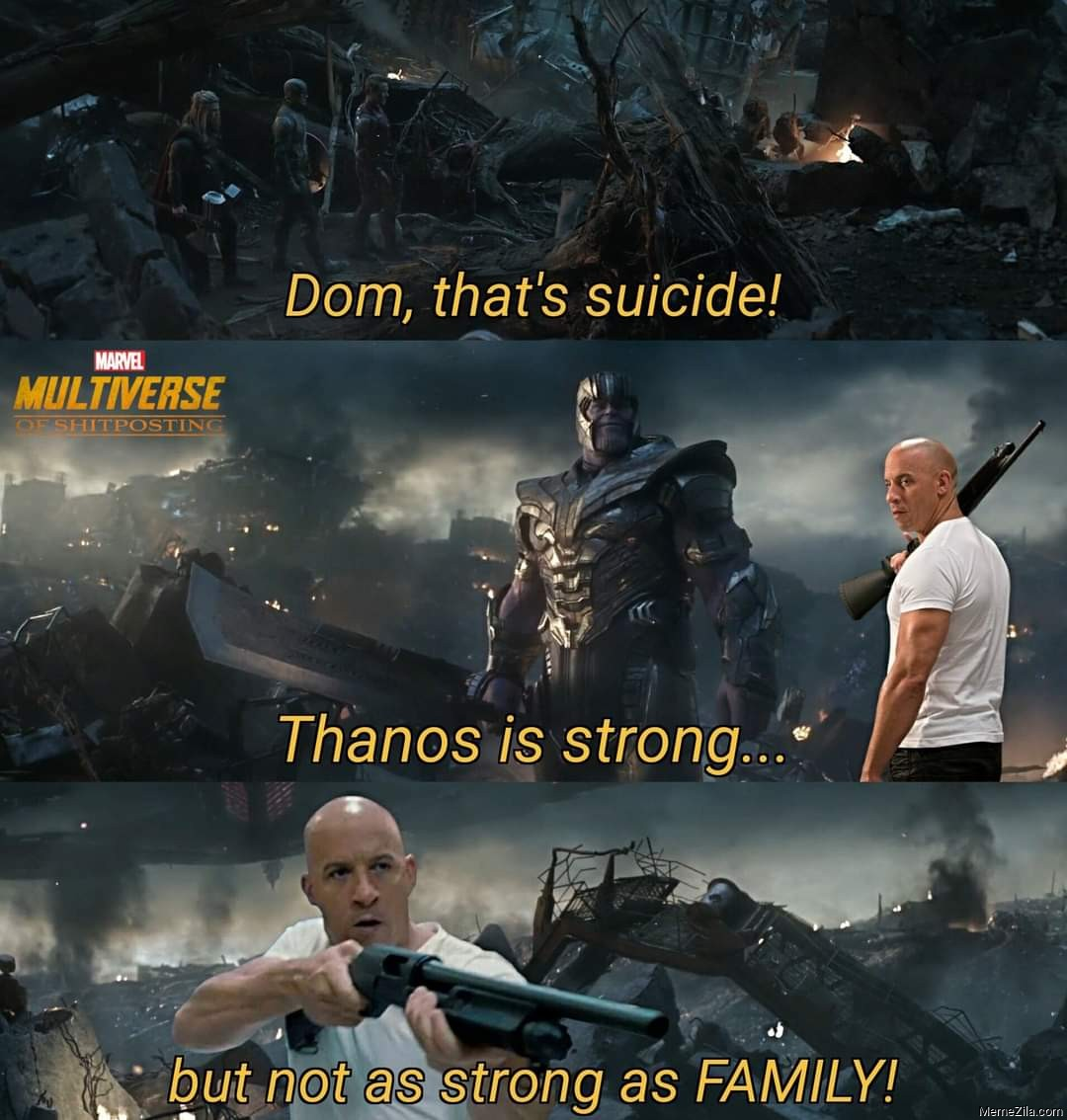 Thanos is strong but not as strong as FAMILY meme