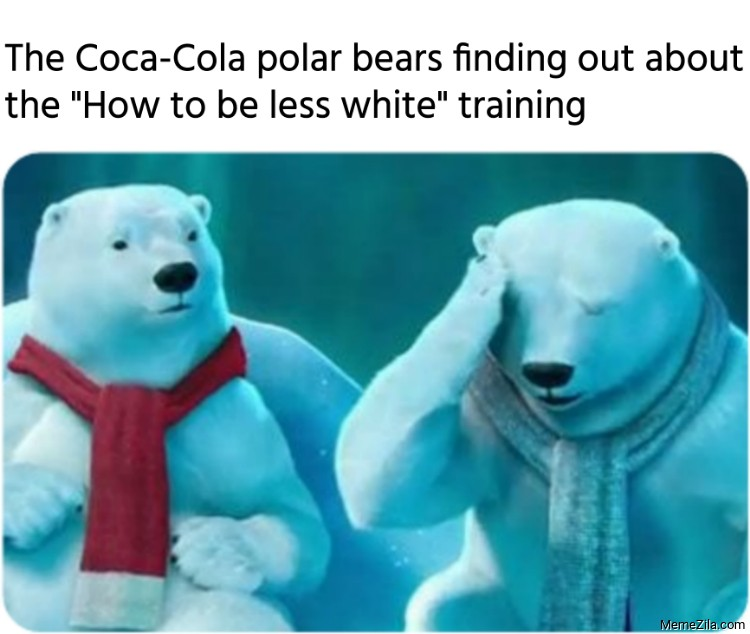 The Coca-Cola polar bears finding out about the how to be less white training meme