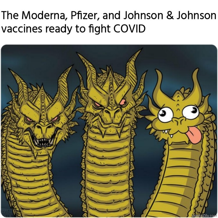 The Moderna Pfizer and Johnson and Johnson vaccines ready to fight Covid meme