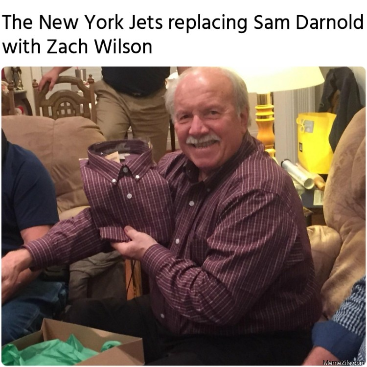 The New York Jets replacing Sam Darnold with Zach Wilson meme