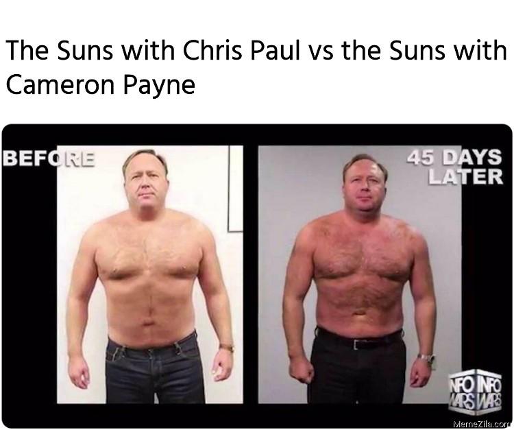 The Suns with Chris Paul vs the Suns with Cameron Payne meme