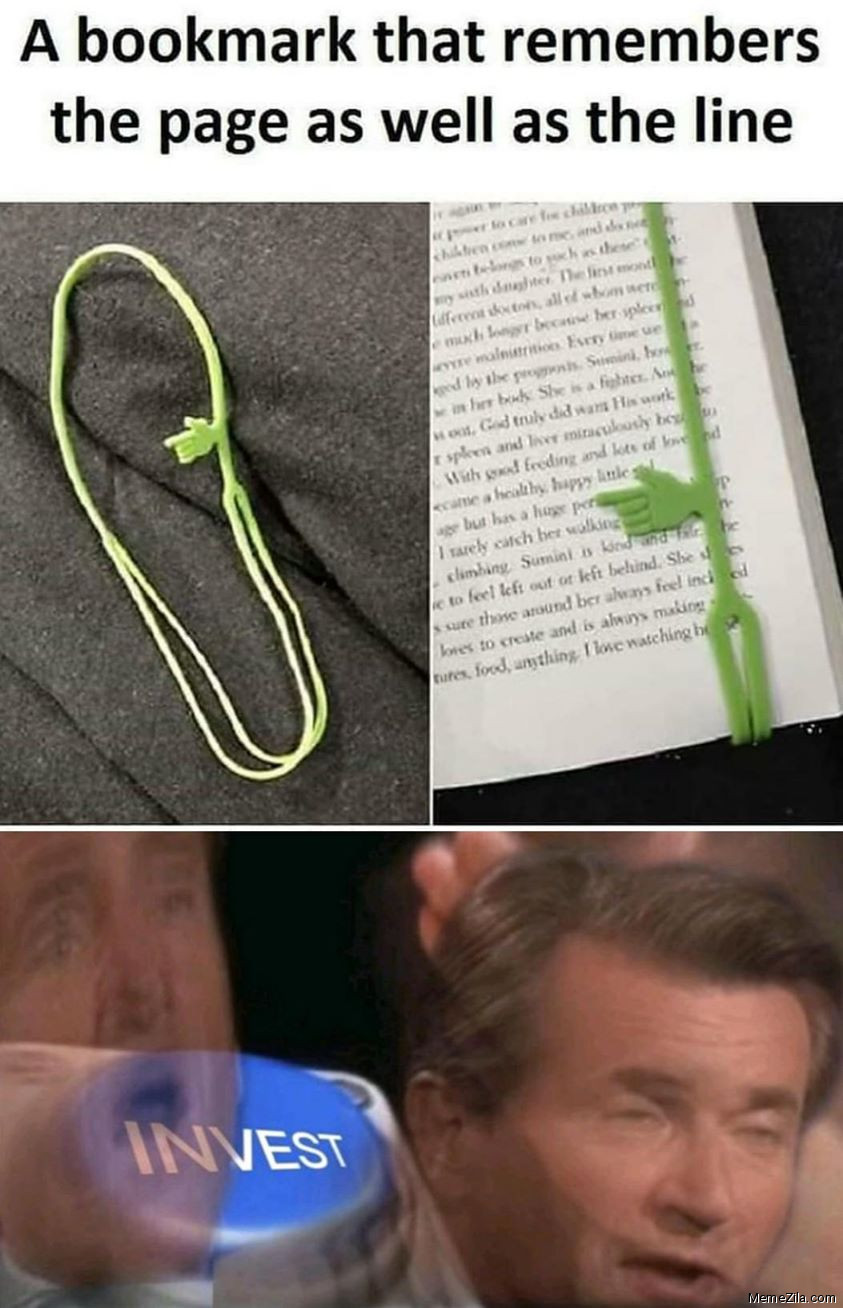 The bookmark which remembers the page as well as the line Invest meme