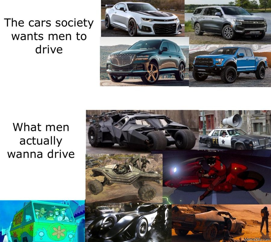 The cars society wants men to drive vs What men actually wanna drive meme