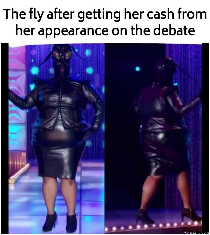 The fly after getting her cash from her appearance on the debate meme