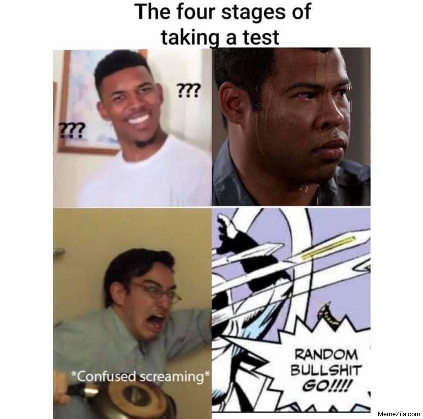 The four stages of taking a test Confused screaming Random bullshit go meme