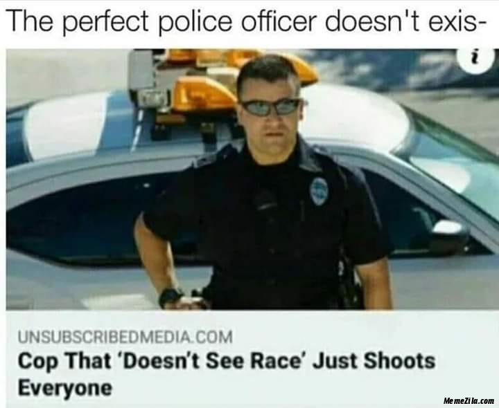 The perfect police officer doesnt exist Cop that doesnt see race just shoots everyone meme