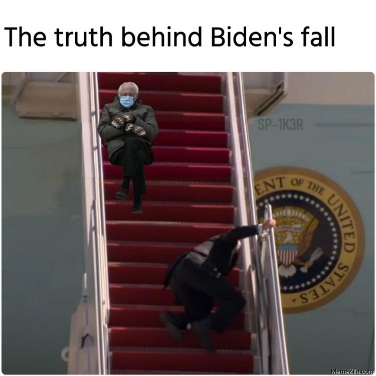 The truth behind Bidens fall Bernie Sanders Mitten meme
