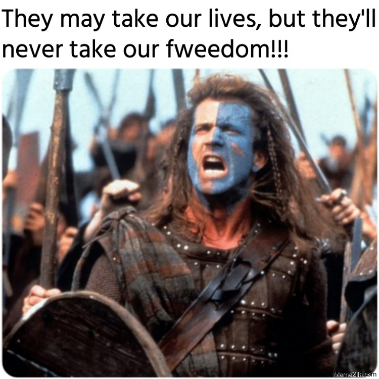 They may take our lives but they will never take our fweedom meme