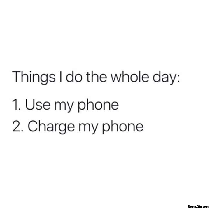Things I do the whole day use my phone charge my phone meme