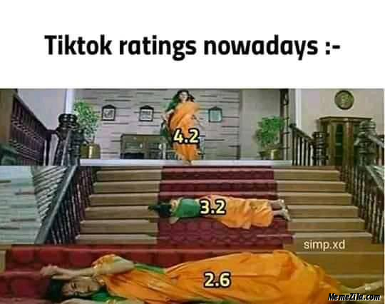 Tiktok ratings nowadays days meme