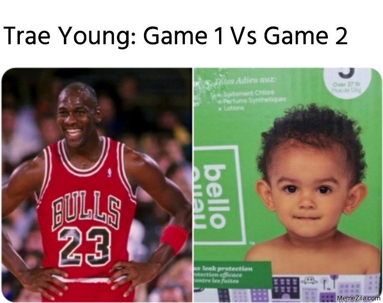 Trae Young Game 1 Vs Game 2 meme
