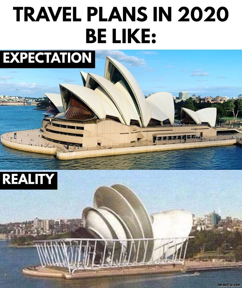 Travel plans in 2020 be like Expectation vs reality meme
