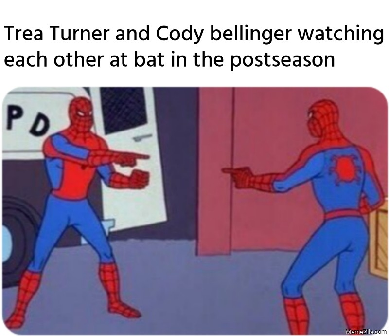 Trea Turner and Cody bellinger watching each other at bat in the postseason meme