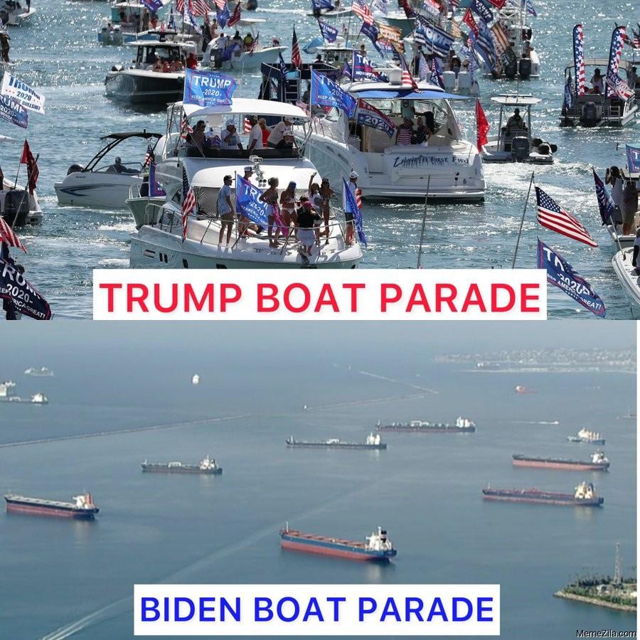 Trump boat parade vs Biden boat parade meme