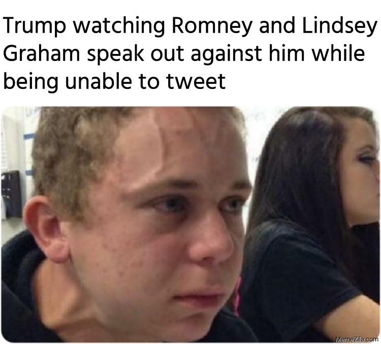 Trump watching Romney and Lindsey Graham speak out against him meme