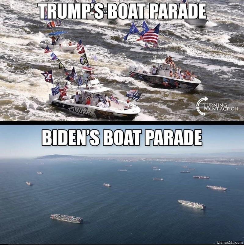Trump's boat parade vs Biden's boat parade meme