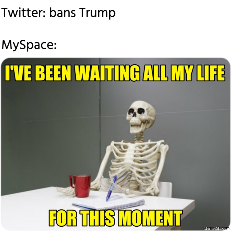 Twitter bans Trump MySpace I have been waiting all my life for this moment meme