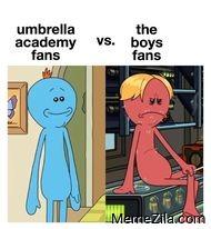 Umbrella academy fans vs The boys fans meme
