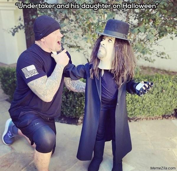 Undertaker and his daughter on halloween meme